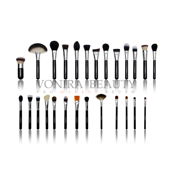 High Level 53PCs Full Line Natural Hair Makeup Cosmetic Brushes with Silver Brass Ferrule & Glossy Black Wooden Handle