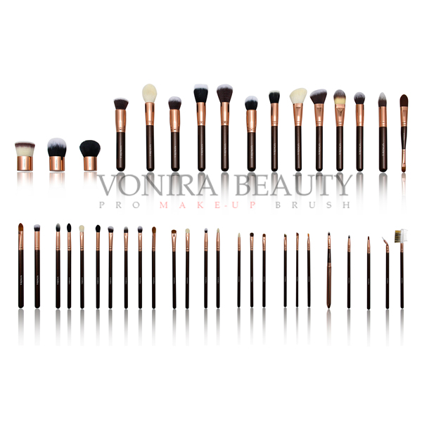Custom Private Label Middle Highest Quality Rosy Gold Full Line Professional Black Handle Makeup Brushes
