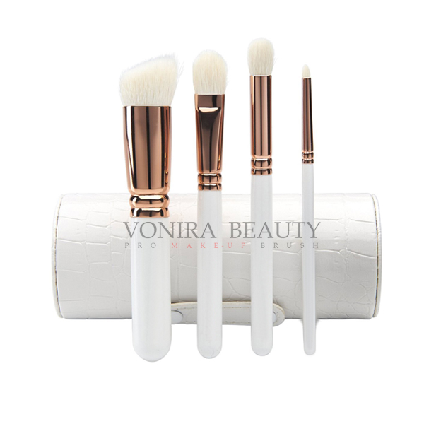4Pcs Natural Goat Hair Makeup Brushes With Holder, Travel Brush Collection White Wood Handle